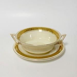 Set of four zenith England soup bowl & saucer